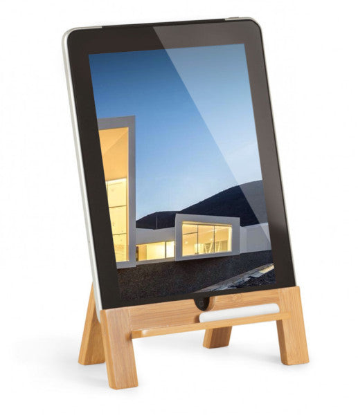 The Old school tablet stand is a small wooden, four legged stand to hold tablets.