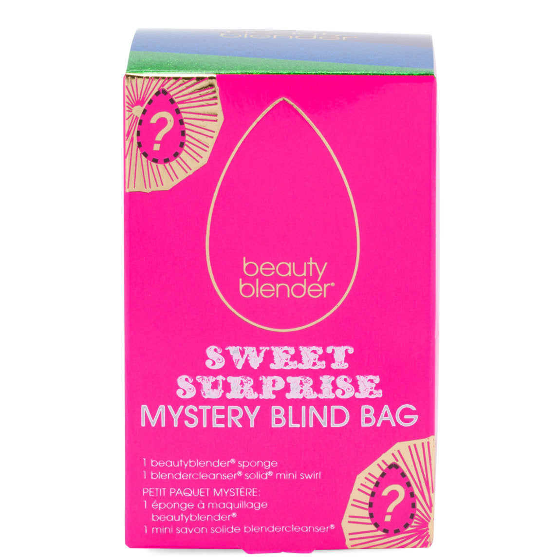 This is a mystery beauty blender, the inside product is unknown but shown is a bright pink box with white lettering.