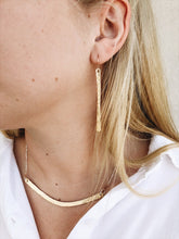Load image into Gallery viewer, textured brass bar earrings