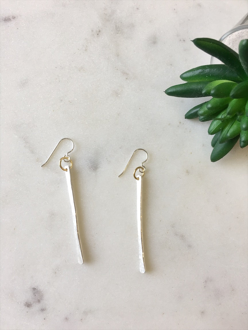 Textured Brass Bar Earrings