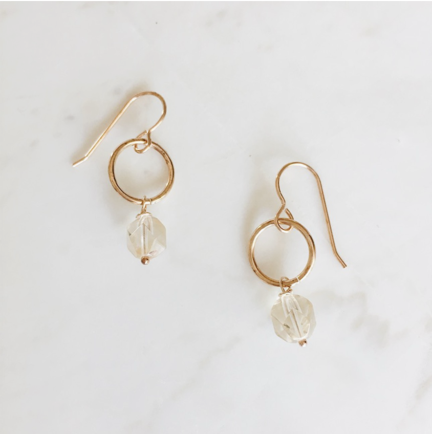 earrings, citrine