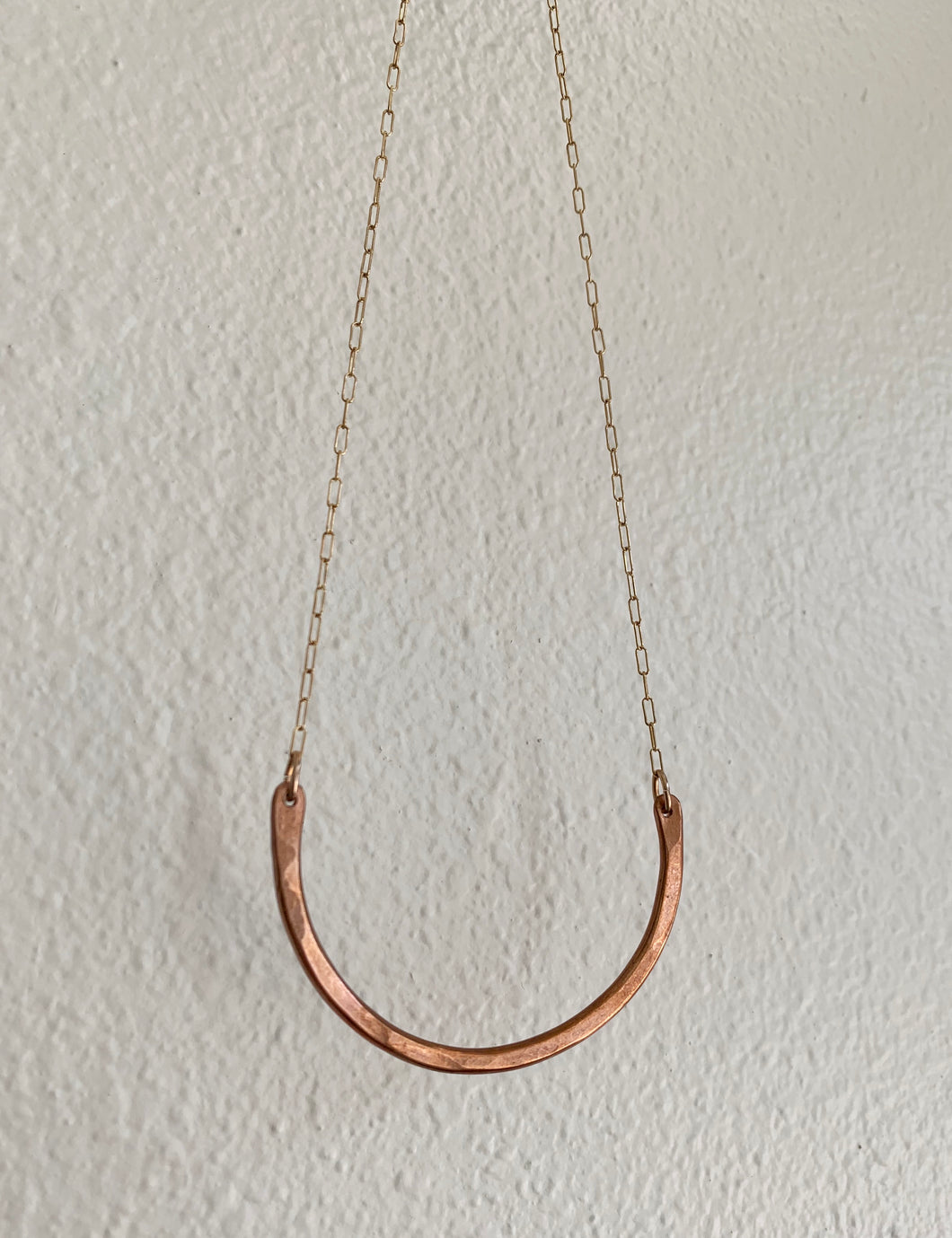 necklace, copper curved bar