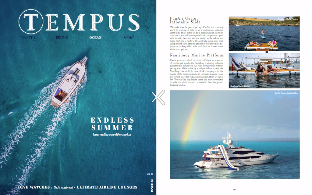 FunAir honored to be featured in the Billionaire Water Toys section of the exclusive TEMPUS Magazine Issue 48