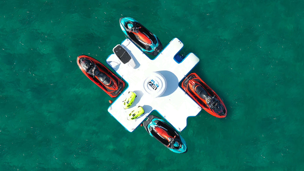 FunAir Toy Island viewed from above with Jet Ski's docked against the floating platform