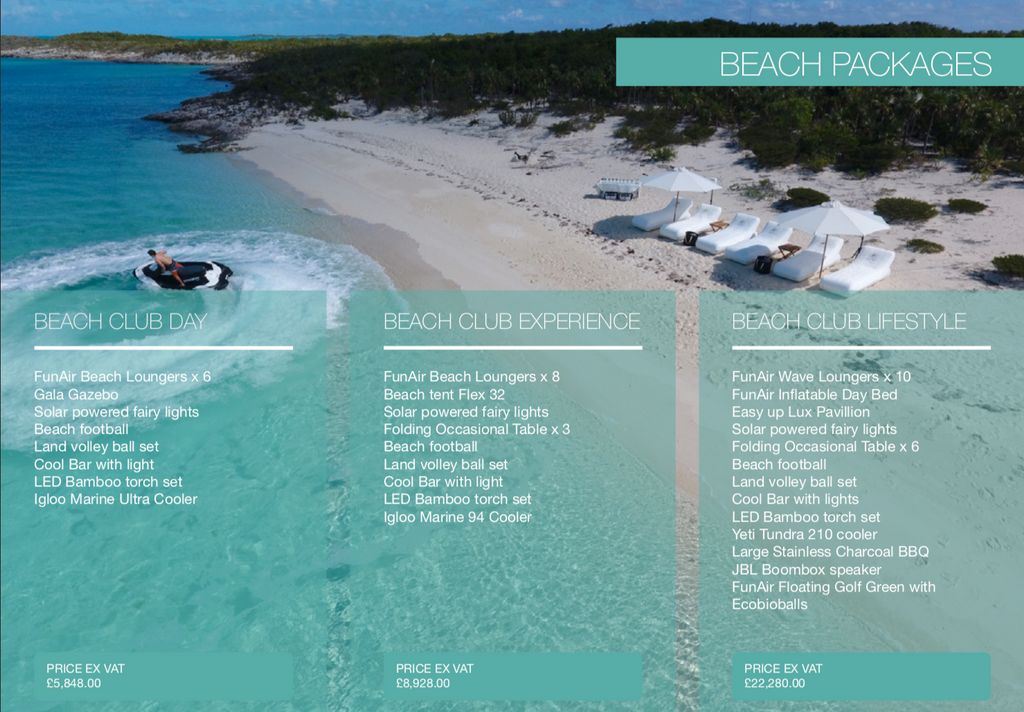 FunAir and Superyacht Tenders & Toys Beach Day packages list