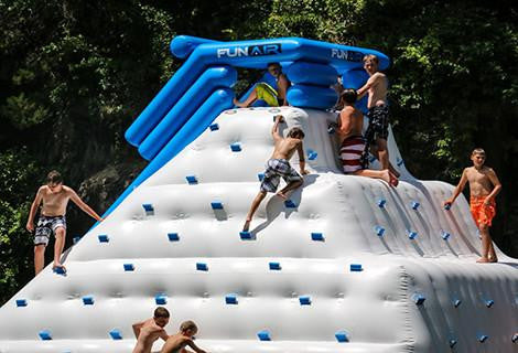 inflatable climbing pyramid, floating slide, floating climbing pyramid, inflatable lake toys for camps, inflatable lake toys resorts, floating climbing walls camps