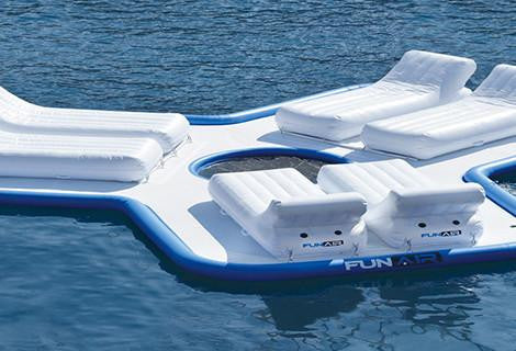 custom water toys for yachts, inflatable water toys for yachts, inflatable lounger for yachts, custom loungers for super yachts