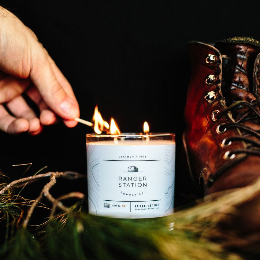 Leather + Pine Scented Candle