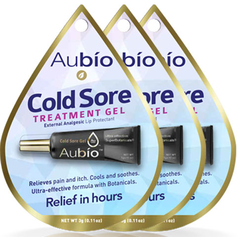 3 Pack Aubio's Cold Sore Treatment Gel - 0.11 oz each