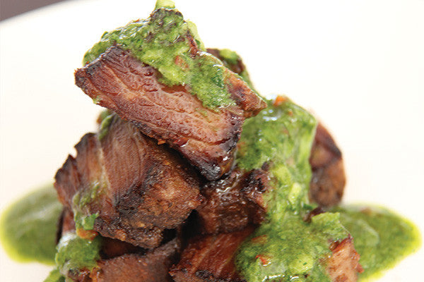 Pan Fried Beef Rib with Salsa Verde