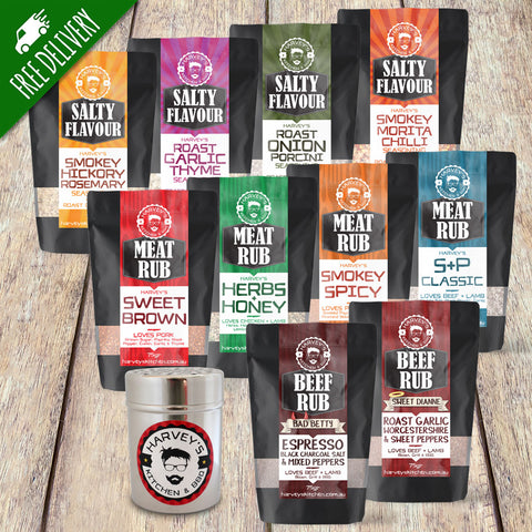 Meat Rub & Salty Flavour BBQ Pack with Stainless Steel Shaker