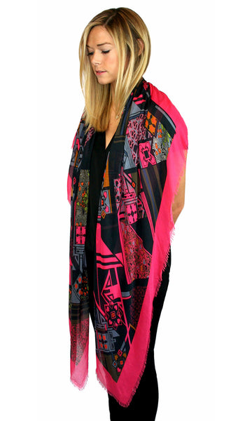 God's Love We Deliver pashmina Scarf - Fuchsia