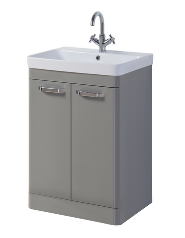 Kartell K-Vit Options 500mm Floor Standing 2 Door Vanity Unit & Basin - Basalt Grey