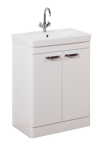 Kartell K-Vit Options 500mm Floor Standing 2 Door Vanity Unit & Basin - White