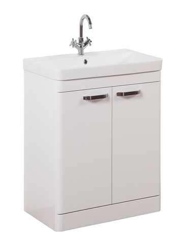 Kartell K-Vit Options 600mm Floor Standing 2 Door Vanity Unit & Basin - White