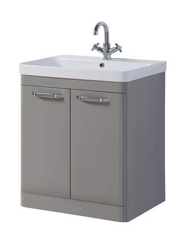 Kartell K-Vit Options 800mm Floor Standing 2 Door Vanity Unit & Basin - Basalt Grey