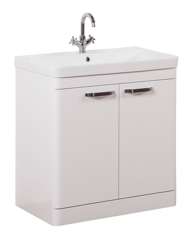 Kartell K-Vit Options 800mm Floor Standing 2 Door Vanity Unit & Basin - White