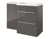 Kartell K-Vit Matrix 2 Drawer L Shaped Furniture Pack 1100mm - Grey Gloss Right Hand