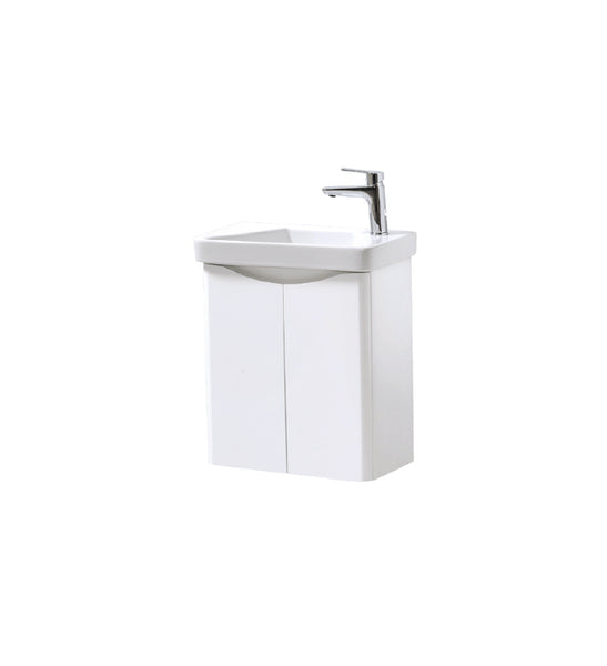 Kartell K-Vit Cayo 500mm Wall Mounted 2 Door Vanity Unit & Basin - White