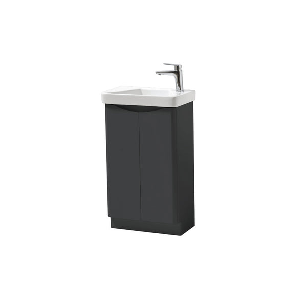 Kartell K-Vit Cayo 500mm Floor Standing 2 Door Vanity Unit & Basin - Anthracite