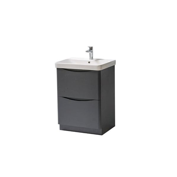 Kartell K-Vit Cayo 600mm Floor Standing 2 Drawer Vanity Unit & Basin - Anthracite