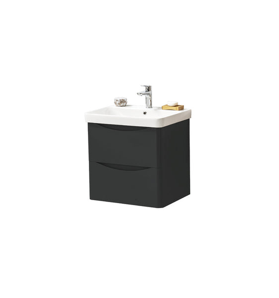 Kartell K-Vit Cayo 600mm Wall Mounted 2 Drawer Vanity Unit & Basin - Anthracite