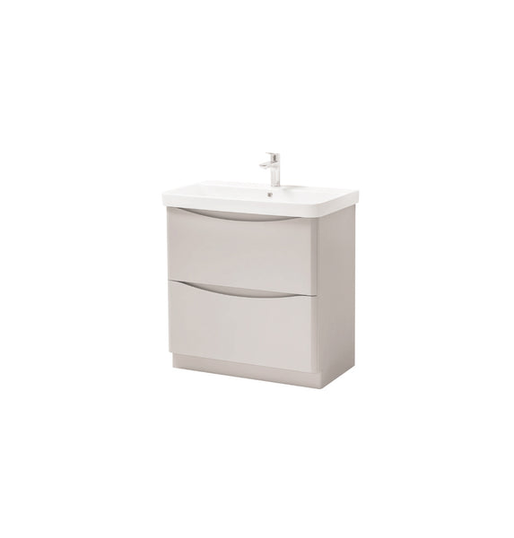 Kartell K-Vit Cayo 800mm Floor Standing 2 Drawer Vanity Unit & Basin - Rolling Mist