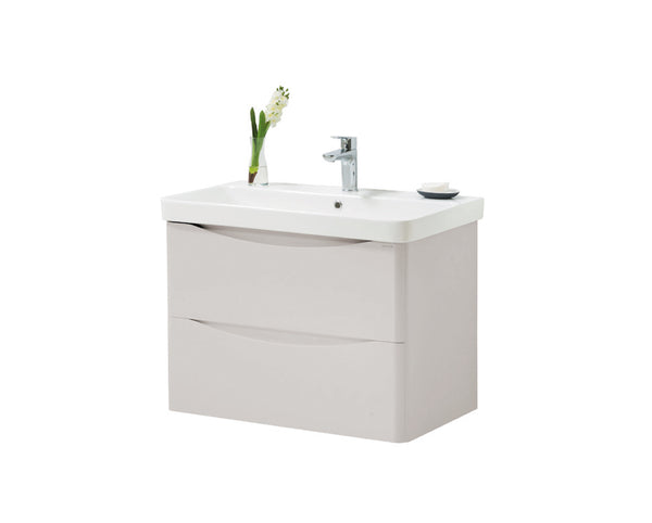 Kartell K-Vit Cayo 800mm Wall Mounted 2 Drawer Vanity Unit & Basin - Rolling Mist