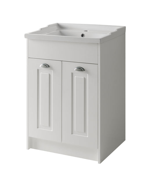 Kartell K-Vit Astley 800mm Floor Standing 2 Door Vanity Unit & Basin - Matt White