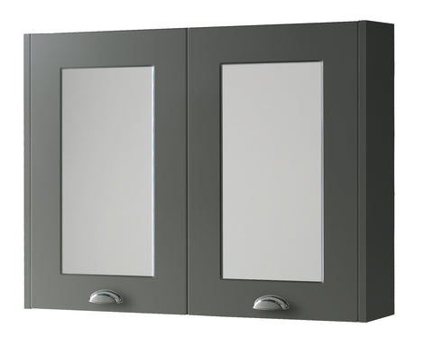 Kartell K-Vit Astley 800mm Mirror Cabinet - Matt Grey