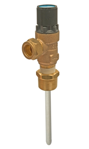 "KBS003 - 10 Bar Pressure & Temperature Relief Valve - 3/4""MBSPx15mm - 95mm Probe - Kent Plumbing Supplies"