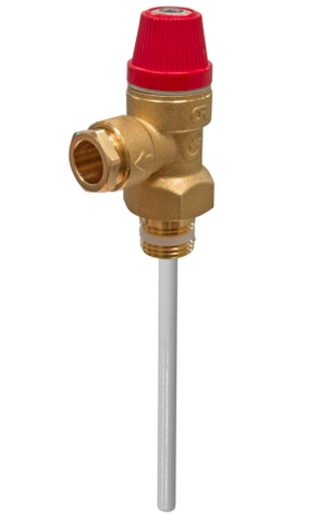 "KBS004 - 7 Bar Pressure & Temperature Relief Valve - 1/2""MBSP - 95mm Probe - Kent Plumbing Supplies"