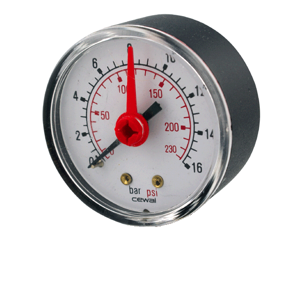 "KBS115 - 50mm Pressure Gauge Only - 1/4"" Rear Connection - 0-10 Bar - Kent Plumbing Supplies"