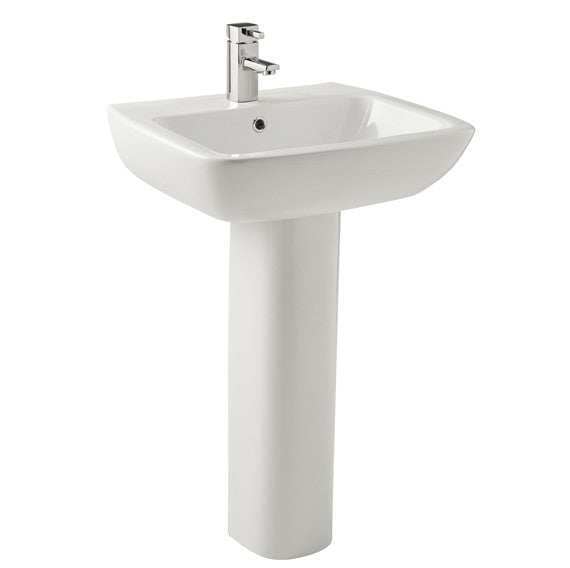 K-Vit Evoque 550mm 1TH Basin & Pedestal - Kent Plumbing Supplies