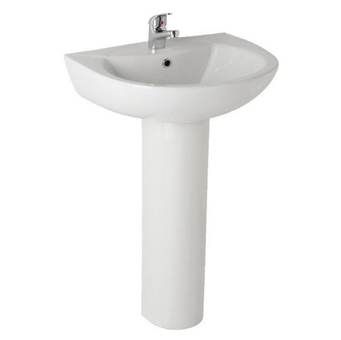 K-Vit G4K 545mm 1TH Basin & Pedestal - Kent Plumbing Supplies