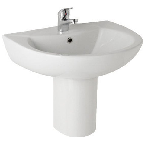 K-Vit G4K 545mm 1TH Basin & Semi Pedestal - Kent Plumbing Supplies