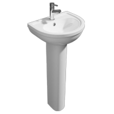 K-Vit Lifestyle 550mm 1TH Basin & Pedestal - Kent Plumbing Supplies