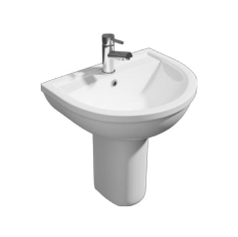K-Vit Lifestyle 550mm 1TH Basin & Semi Pedestal - Kent Plumbing Supplies