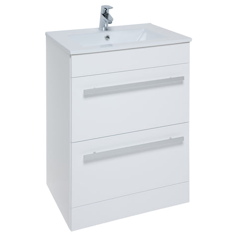 K-Vit Purity 600mm Floor Standing 2 Drawer Vanity Unit & Basin - White - Kent Plumbing Supplies