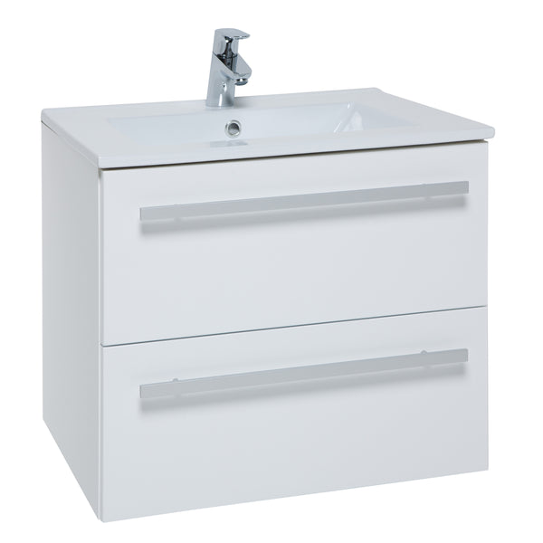K-Vit Purity 600mm Wall Hung 2 Drawer Vanity Unit & Basin - White - Kent Plumbing Supplies
