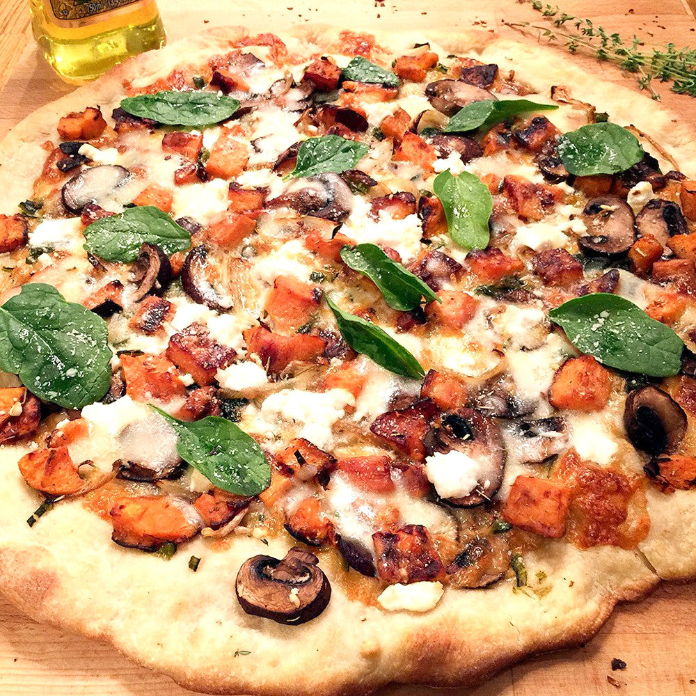 VEGETARIAN ROASTED SWEET POTATO PIZZA WITH THREE CHEESE...