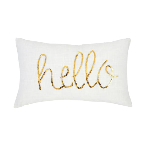 Hello - Sequin Cushion