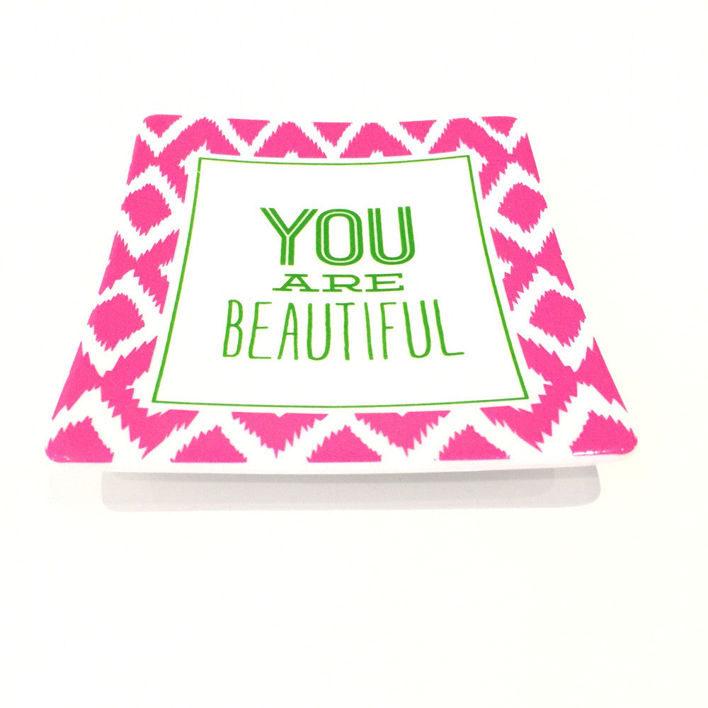 Two's Company Ceramic Tray: 'You Are Beautiful'