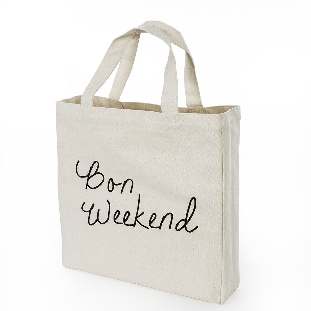 Bon Weekend' Canvas Tote