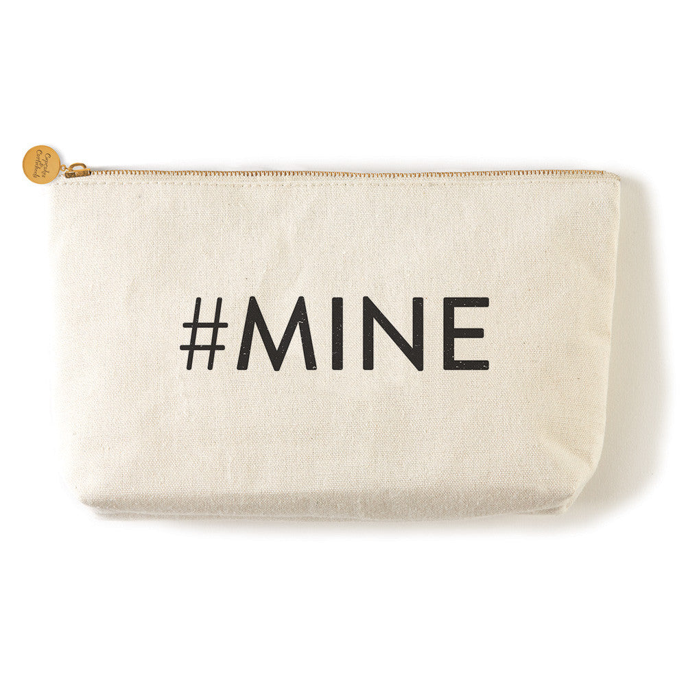 "Two's Company Canvas Pouch with words ""MINE"""