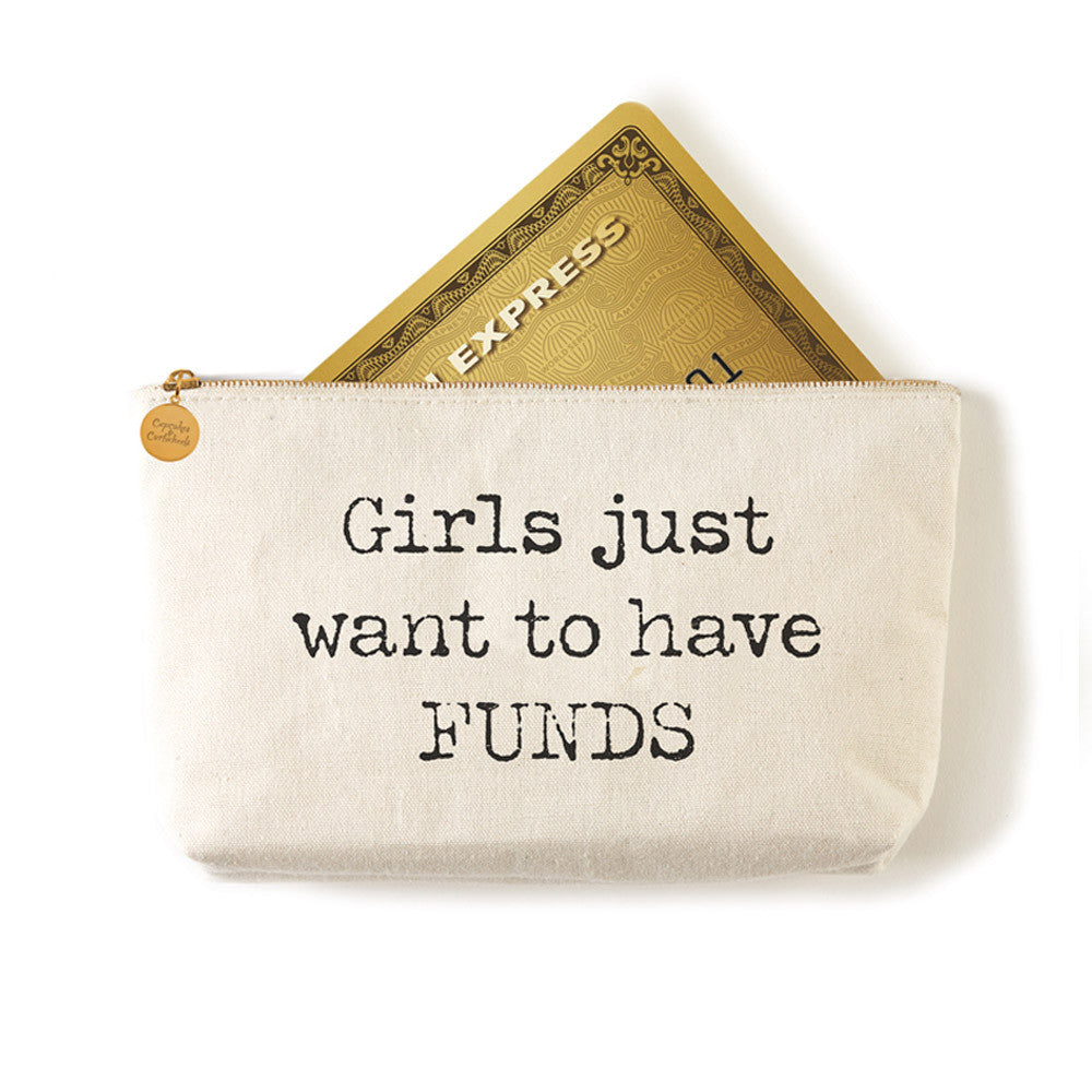 "Two's Company Zippered Small Coin Pouch ""Girls Just Want To Have Funds"""