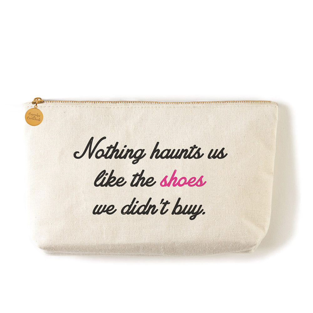 "Two's Company Zippered Small Coin Pouch ""Nothing Haunts Us Like The Shoes We Didn't Buy"""