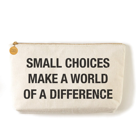 "Two's Company Zippered Small Coin Pouch ""Small Choices Make A World Of Difference"""