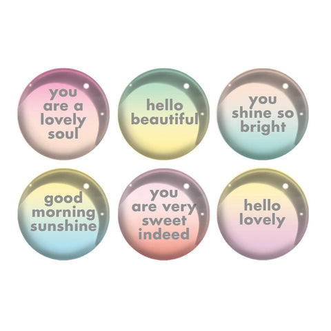 Pastel Ombre Glass Magnets With Quotes
