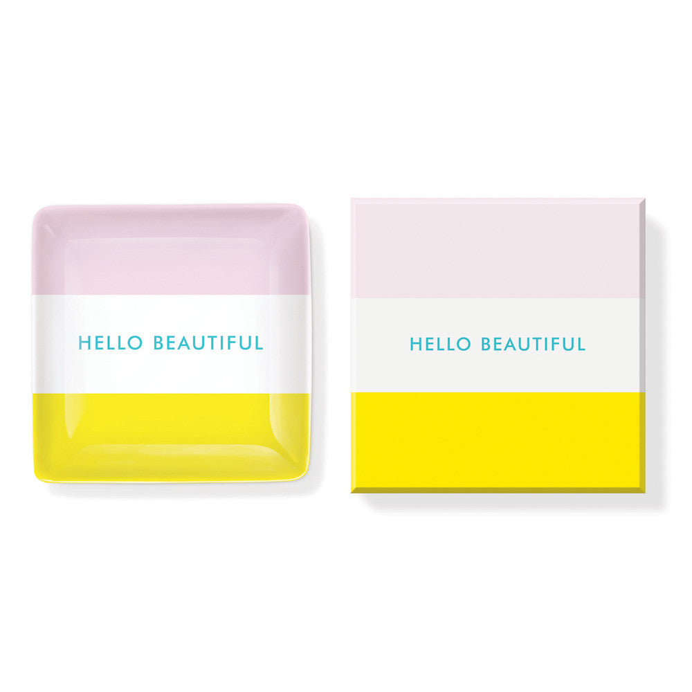 "Pastel Porcelain Soap Dish ""Hello Beautiful"""